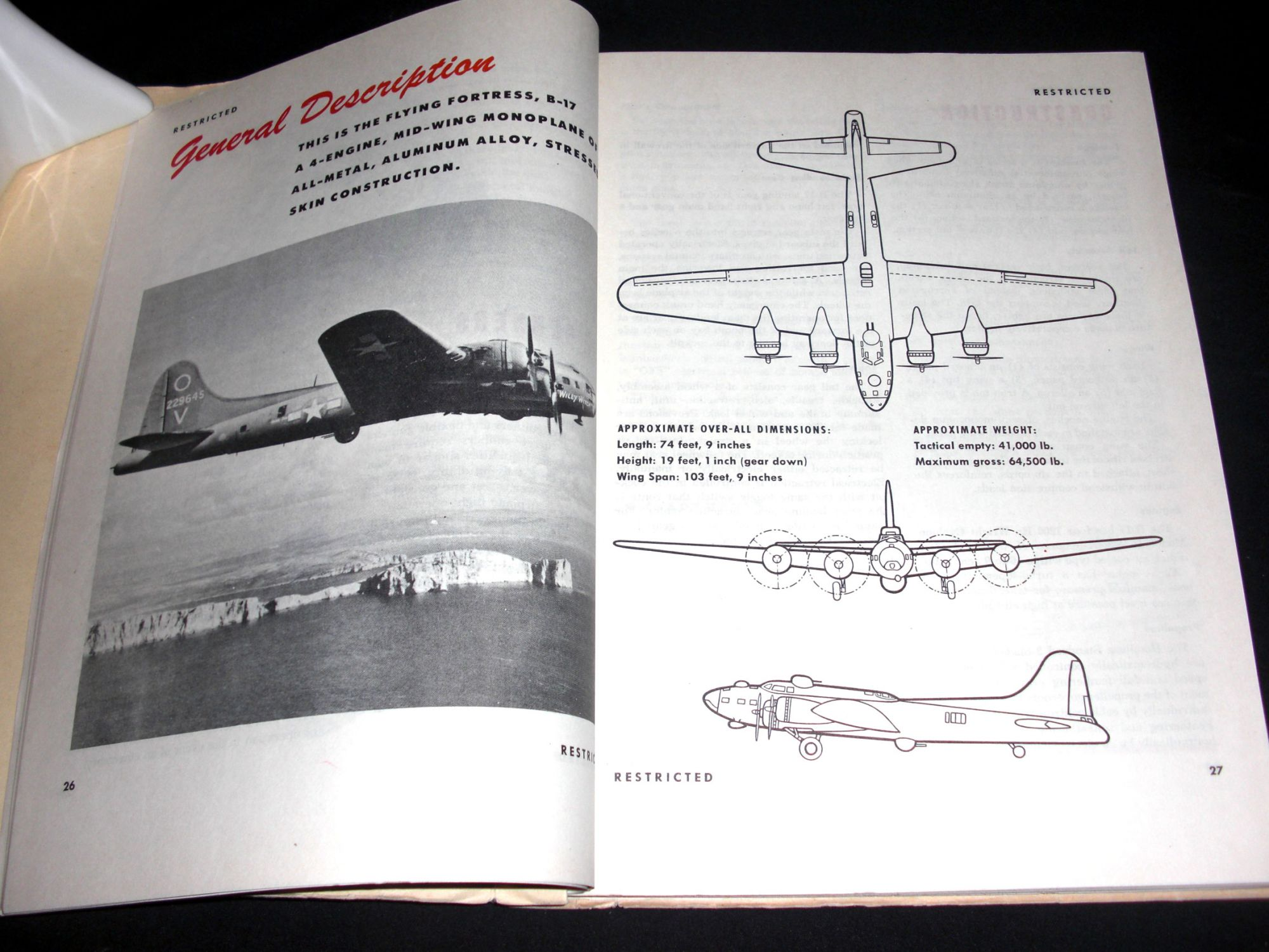 Pilot Training Manual For The B 17 Flying Fortress Army Air Force Aviation Engineering Schematics