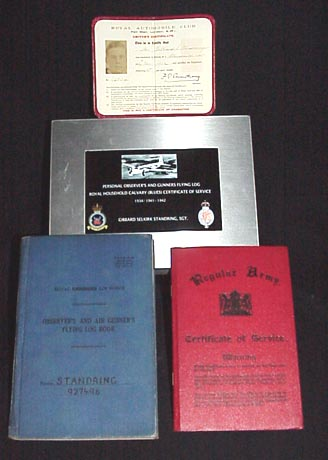 (1.) Royal Automobile Club Driver's Certificate. (2.)Regular Army Certificate of Service. ((3.) Personal Observer's and Gunners Flying Log Book. Sgt. Gibbard Selkirk Standring.