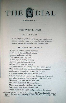 (The Waste Land.) The Dial. T. S. Eliot.