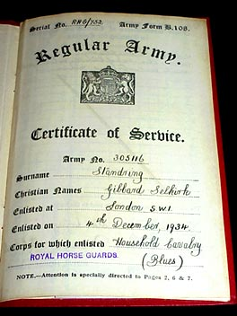 (1.) Royal Automobile Club Driver's Certificate. (2.)Regular Army Certificate of Service. ((3.) Personal Observer's and Gunners Flying Log Book.