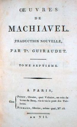 (Works of Machiavelli) Oeuvres De Machiavel.