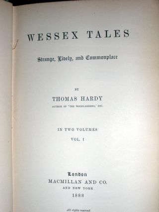 Wessex Tales. Stange Lively and Commonplace.